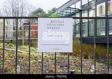 Genève, Suisse - 5 APR 2019- Vue de l'Ecole Hôtelière de Genève (Ehg), une célèbre école de gestion de l'hôtel situé à Genève, Suisse. Banque D'Images