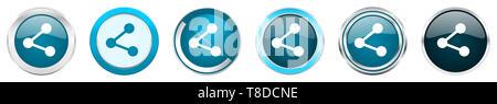 Partager chrome argent métallique border icônes dans 6 options, ensemble de boutons rond bleu web isolé sur fond blanc. Banque D'Images