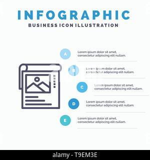 Fond d'écran, affiche, de la Brochure des infographies bleu Modèle 5 étapes. Modèle de l'icône de la ligne du vecteur Banque D'Images