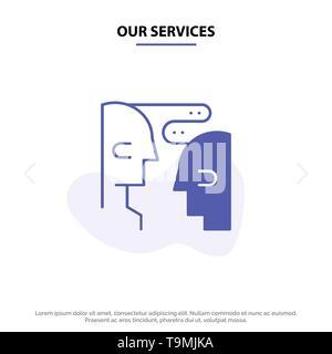 Les services de notre cerveau, la communication, l'interaction humaine, icône glyphe solide modèle de carte Web Banque D'Images