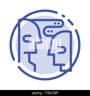 Cerveau, Communication, interaction, l'icône de la ligne en pointillé bleu Banque D'Images