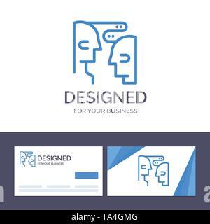 Carte d'affaires et de création de modèles de logo, cerveau, Communication, Interaction humaine Vector Illustration Banque D'Images