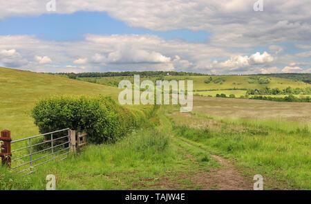 Un paysage rural avec la voie à travers un champ dans le collines de Chiltern et moulin à vent sur la colline Banque D'Images