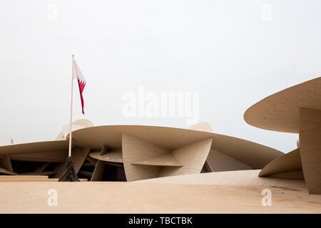 Doha, Qatar - 11 avril, 2019: une vue sur le Musée national du Qatar de l'extérieur. Banque D'Images