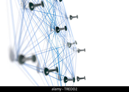 Broches connectées avec les ficelles bleu, symbolisant une structure en réseau Banque D'Images