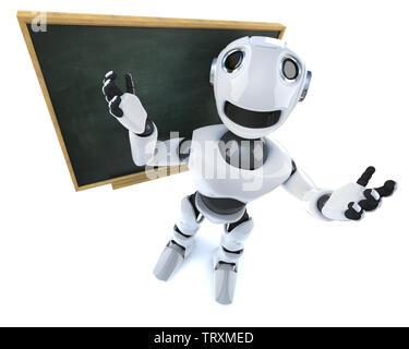 3D render of a robot mécanique funny cartoon character debout devant un tableau noir Banque D'Images