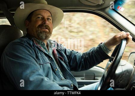 USA (Oregon), Enterprise, Cowboy et d'éleveurs de Todd Nash conduit son chariot passé Joseph dans le Canyon pour le déplacement des bovins jusqu'Big Sheep Creek Banque D'Images