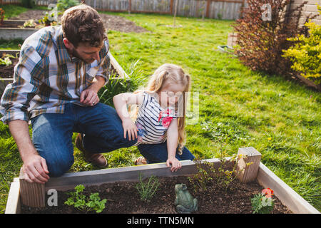 Père et fille à la recherche de plantes poussant en double Banque D'Images