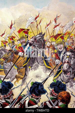 Charge de la Red lanciers de la garde impériale française contre l'infanterie écossais à la bataille de Waterloo, l'illustration, avant 1931 Banque D'Images
