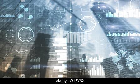L'intelligence d'affaires. Schéma, graphique, tableau de bord de l'investissement en Bourse, transparent Banque D'Images