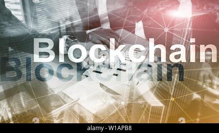 La technologie serveur Blockchain Concept sur l'arrière-plan. Le chiffrement des données Banque D'Images
