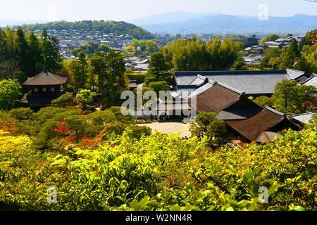 Ginkaku-ji ou pavillon d'argent dans la ville de Kyoto, Honshu, Japon, Asie. Banque D'Images