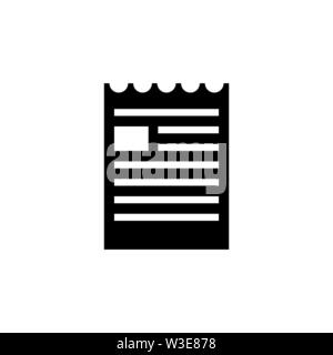 Fichier Document, Brochure déchiré. Icône vecteur illustration. Télévision Simple symbole noir sur fond blanc. Fichier Document, brochure design déchirés signe modèl Banque D'Images