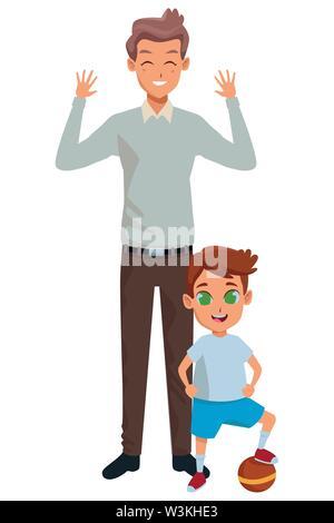 Famille père célibataire avec enfants cartoon Banque D'Images