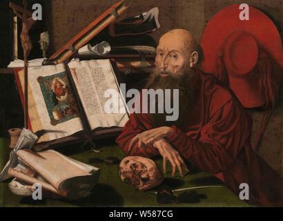 Saint Jérôme dans son étude, Saint Jérôme dans son étude, faisant de sa main gauche, à un crâne. Sur son bureau il y a aussi un livre ouvert dans lequel une miniature du Jugement Dernier, livres et papiers, verres ou loupe sur un support, encre et plume, un crucifix et une bougie. Son chapeau de cardinal est suspendu sur le mur. La répétition de l'original à partir de 1541 dans le Prado de Madrid, le moine et ermite Jérôme (Jérôme), attributs possibles: livre, le cardinal's hat, crucifix, sablier, lion, du crâne, de la pierre, Marinus van Reymerswale (attribué à), ch. 1535 - c. 1545, tableau de bord, de la peinture à l'huile (peinture), peinture, support: h 80,5 cm Banque D'Images