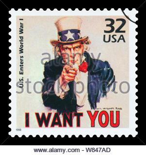 États-unis D'AMÉRIQUE - circa 1998: timbre imprimé aux États-Unis montre l'Oncle Sam, U.S. entre dans la Première Guerre mondiale, série célébrer le siècle, 1910, vers 199 Banque D'Images