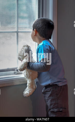 Un jeune garçon avec son ours en peluche, regarde par la fenêtre, regardant pour la grand-maman Banque D'Images