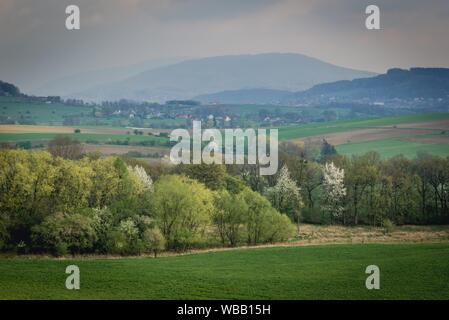 Vue aérienne du paysage rural près de Bielsko-Biala city en voïvodie de Silésie de Pologne. Banque D'Images