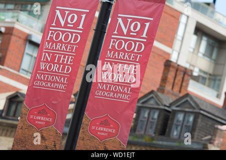 Marché Saint-Lawrence Signe, bannière, n° 1, de l'alimentation Marché du monde, Toronto, Ontario, Canada Banque D'Images