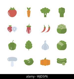 Icon Set légumes.Vector illustration Banque D'Images