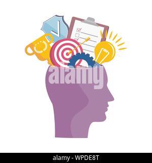 Tête humaine avec des pensées et des idées. Métaphore de l'inspiration créative Banque D'Images