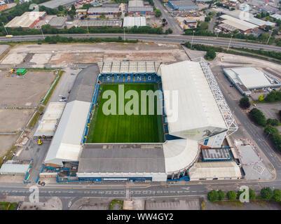 Leeds UK 11 Juillet 2019: photo aérienne d'Elland Road Football Club, pris dans Leeds West Yorkshire, Leeds United Football Club Banque D'Images