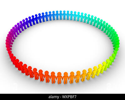 3d'une couleur différente de personnes debout les unes à côté des autres pour former un grand cercle Banque D'Images