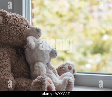 Deux oursons câliné hugging regarder par la fenêtre Banque D'Images