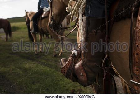 Close up of womans cowboy boot en étrier, cheval de selle. Banque D'Images