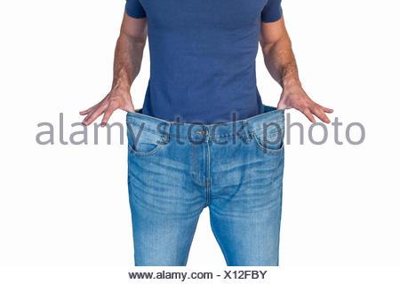 Portrait de l'homme jeans d'étirement Banque D'Images