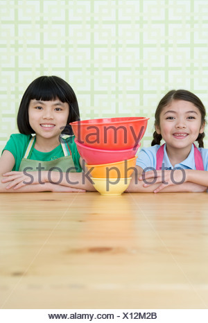 Portrait de deux jeunes filles Banque D'Images