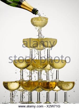 Abondance ,bulle,champagne,fête,champagne,couleur,verre de champagne Banque D'Images