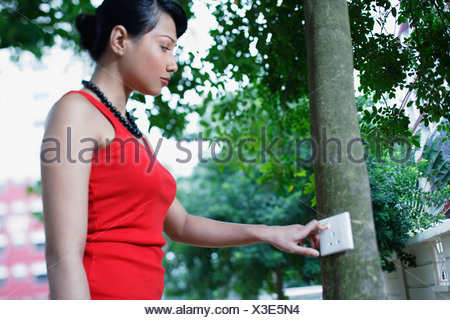 Woman looking at wall jack on tree Banque D'Images