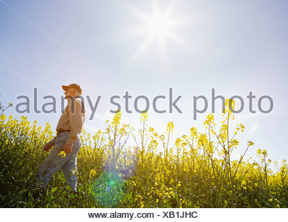 Farmer walking through field Banque D'Images