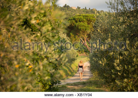 Italie, Toscane, Dicomano, Woman walking along road in vineyard Banque D'Images