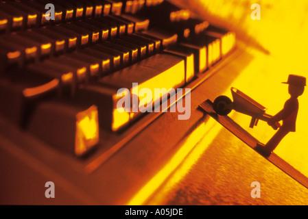 Image générée par ordinateur d'un travailleur et d'ordinateurs Banque D'Images