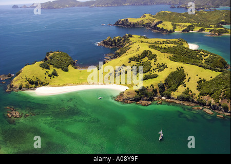 Waewaetorea Island Bay of Islands, Northland Nouvelle-Zélande aerial Banque D'Images