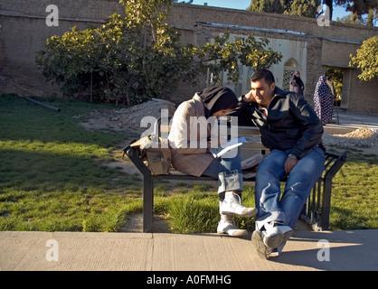 Un couple en pleine discussion dans le jardin du mausolée de Hafez, l'Iran, le plus célèbre poète à Shiraz, Iran. Banque D'Images