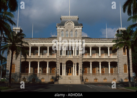Hawaï, îles hawaïennes, Oahu Honolulu Iolani Palace State Monument, construit 1882 US seulement palais royal résidence Banque D'Images