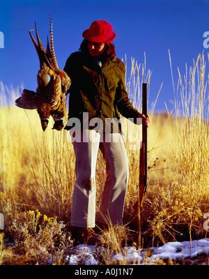 Pheasant hunter admire une paire d'oiseaux à la fin d'une journée dans les champs Banque D'Images