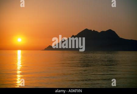 Coucher du soleil à plage. porto, filosorma, Corse, France, Europe Banque D'Images