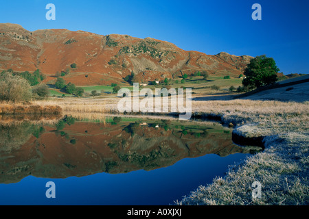 Frosty matin d'automne et Tarn Langdale Lingmoor tomba peu Langdale Lake District Angleterre Cumbria Royaume Uni Banque D'Images