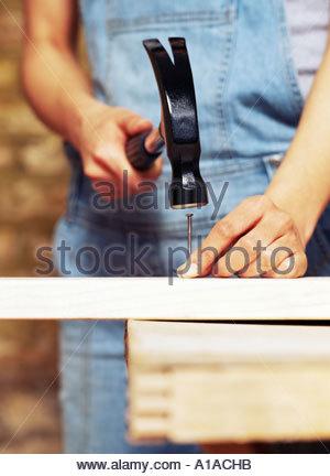 Femme hitting nail avec chien Banque D'Images