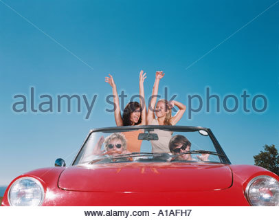 Friends enjoying road trip Banque D'Images