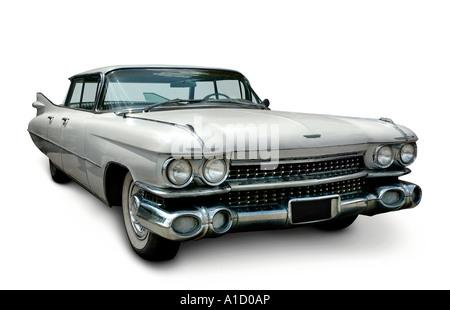 Cadillac Fleetwood 1959 blanc voiture rétro américain classique Banque D'Images