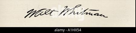 Signature de Walt Whitman, 1819 -1892. Le poète américain. Banque D'Images