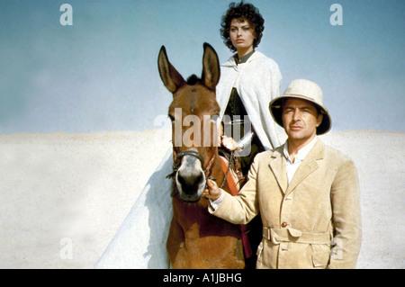 Légende de l'année perdue 1957 Réalisateur Henry Hathaway Rossano Brazzi Sophia Loren âne casque veste saharienne Banque D'Images