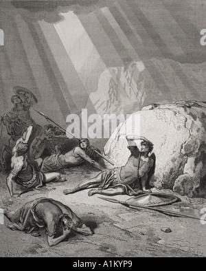 Gravure de la Dore illustrant la Bible Actes ix 1 à 6. La conversion de saint Paul par Gustave Dore