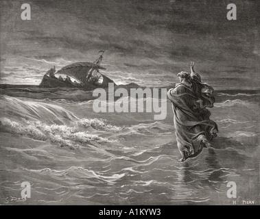 Gravure tirée de la Bible illustrant la Dore Jean vi 19 à 21. Jésus marche sur la mer par Gustave Dore