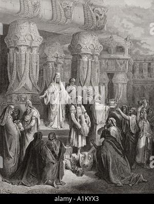 Gravure de la Dore illustrant la Bible Esdras j 7 à 11. Cyrus La restauration du Temple par les navires de l'Gustave Dore
